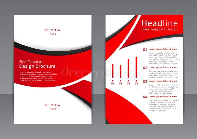 Wektorowy projekt czerwona ulotka, pokrywa, broszurka, plakat, raport z czarnymi elementami royalty ilustracja