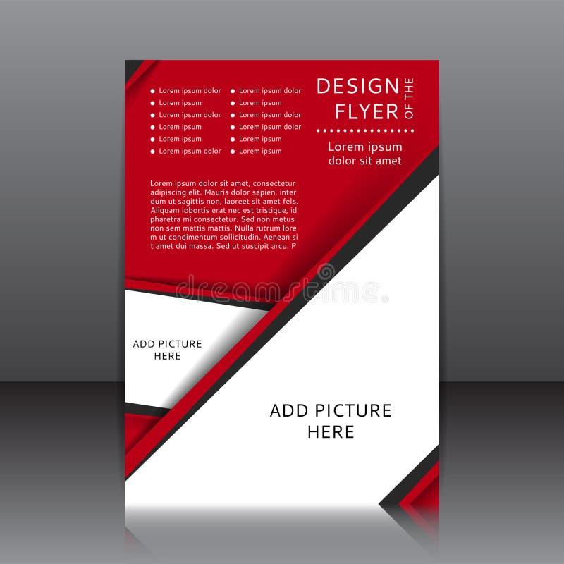 Wektorowy projekt czerwona ulotka z czarnymi miejscami dla wizerunków i elementami ilustracja wektor