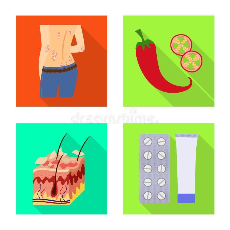 Wektorowy projekt dermatologii i choroby symbol Kolekcja dermatologia i medyczny akcyjny symbol dla sieci ilustracji