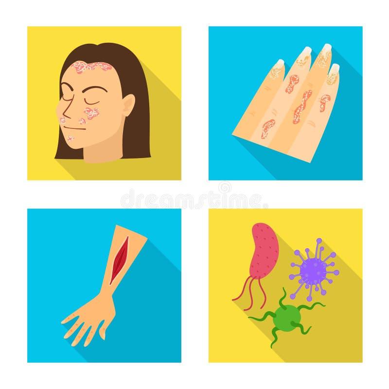 Wektorowy projekt dermatologii i choroby znak Set dermatologia i medyczny akcyjny symbol dla sieci royalty ilustracja