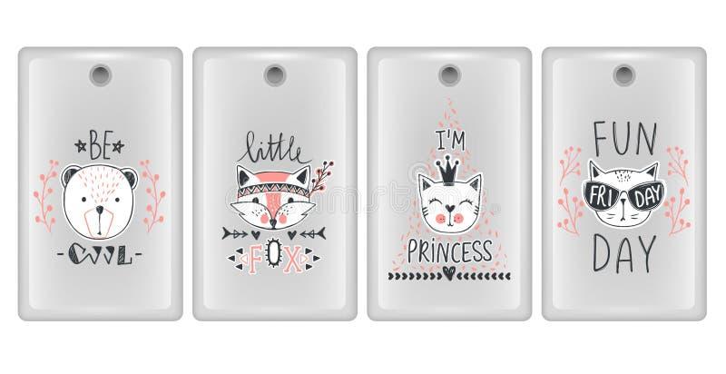 Wektorowy projekt dla smartphone pokryw Telefon skrzynki z ślicznymi zwierzętami Set z misiami, koty, lis ilustracja wektor