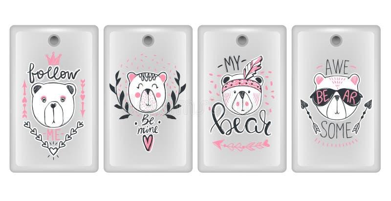 Wektorowy projekt dla smartphone pokryw Telefon skrzynki z ślicznymi zwierzętami Set z moda niedźwiedziem Wspaniały miś doodle ilustracji