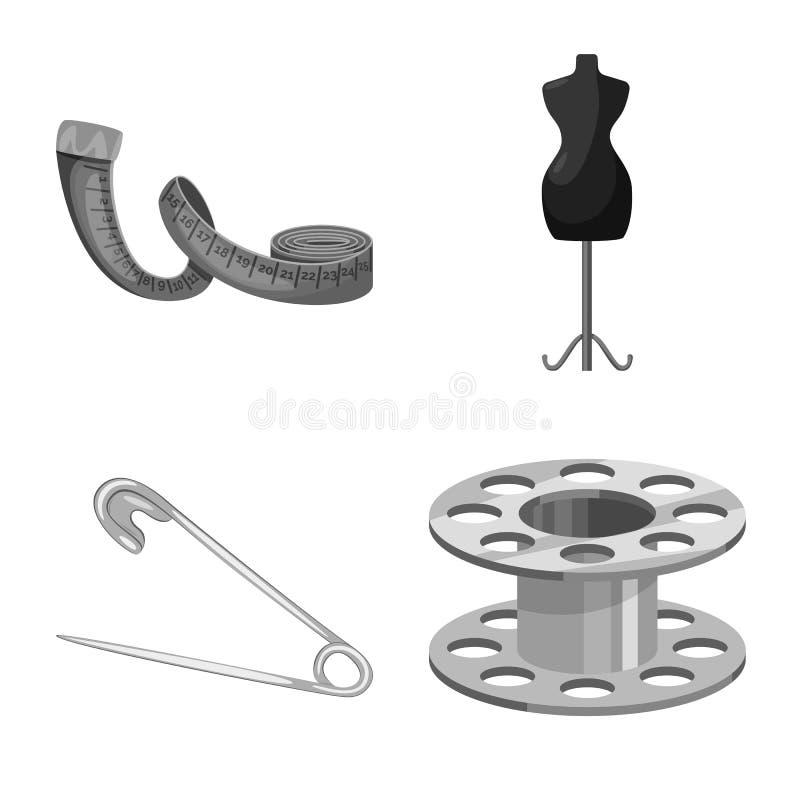 Wektorowy projekt dressmaking i tkanina symbol Set dressmaking i handcraft wektorow? ikon? dla zapasu ilustracja wektor