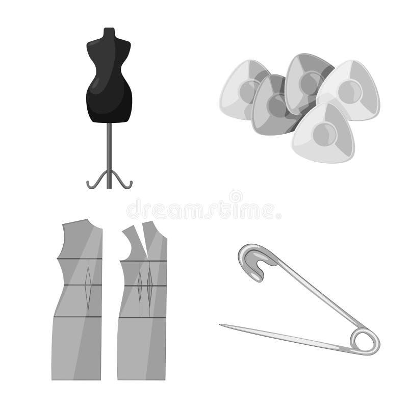 Wektorowy projekt dressmaking i tkanina znak Set dressmaking i handcraft akcyjnego symbol dla sieci ilustracji