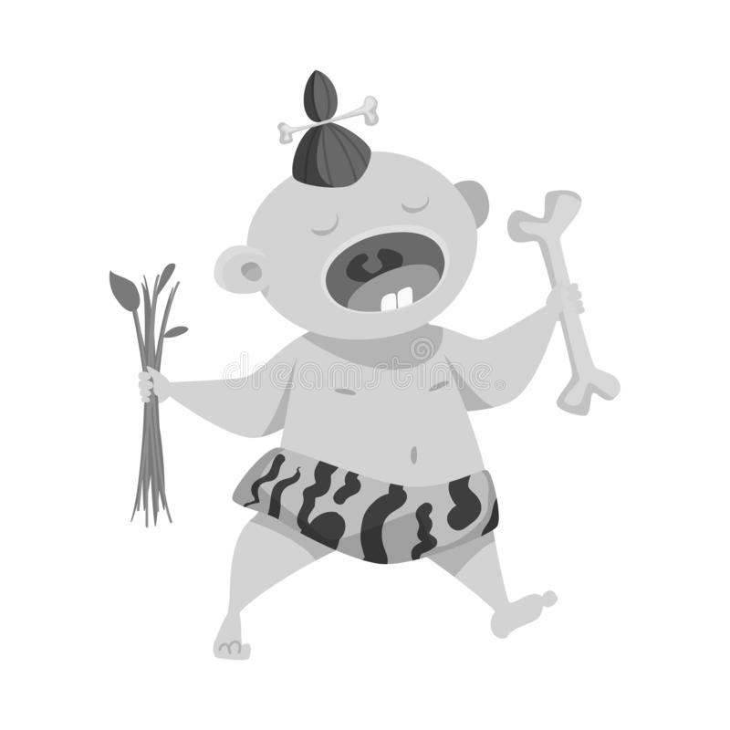 Wektorowy projekt dzieciak i prehistoryczny symbol Set dzieciaka i cukierki wektorowa ikona dla zapasu ilustracja wektor