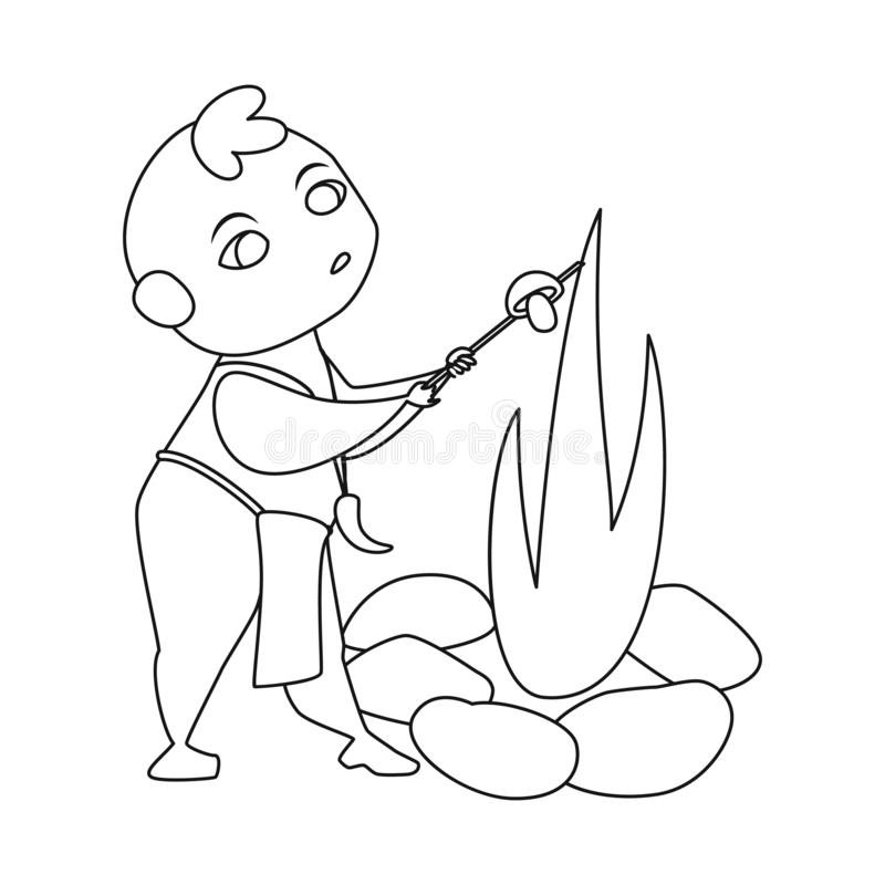 Wektorowy projekt dzieciak i prehistoryczny znak Set dzieciaka i kamieni akcyjny symbol dla sieci royalty ilustracja