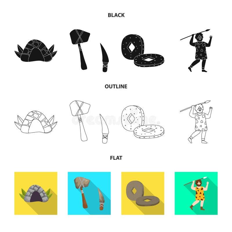 Wektorowy projekt ewolucja i neolityczna ikona Kolekcja ewolucja i pradawna wektorowa ikona dla zapasu ilustracja wektor