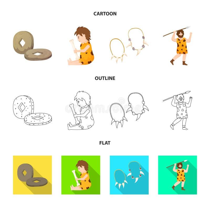 Wektorowy projekt ewolucja i neolityczna ikona Set ewolucja i pradawna wektorowa ikona dla zapasu ilustracja wektor
