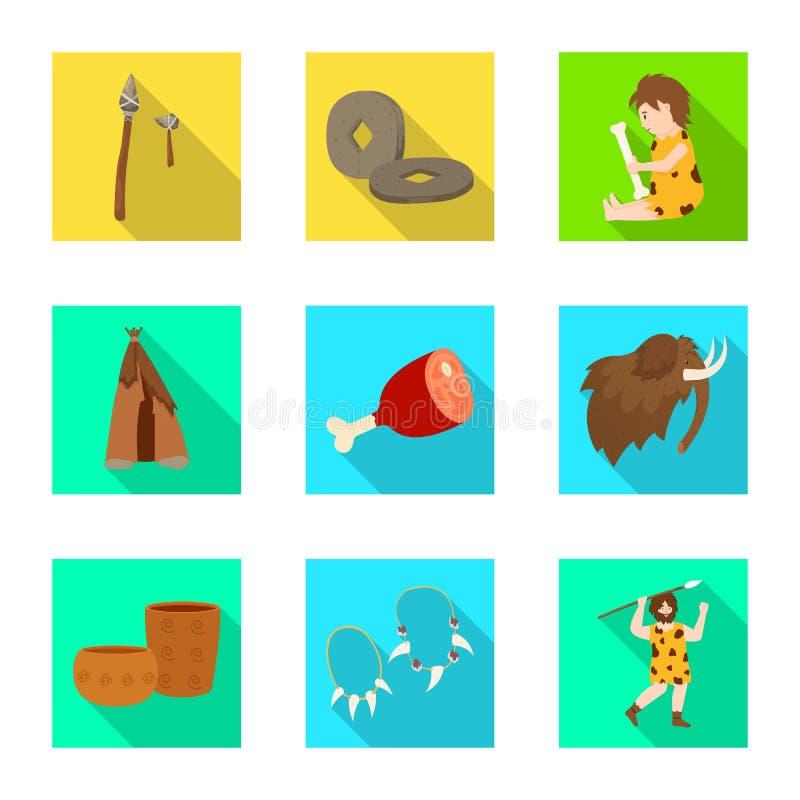 Wektorowy projekt ewolucja i neolityczny logo Set ewolucja i pradawna akcyjna wektorowa ilustracja ilustracja wektor