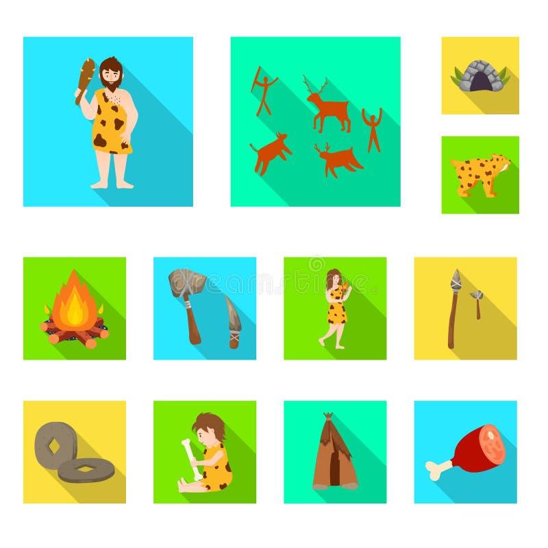 Wektorowy projekt ewolucja i neolityczny logo Set ewolucja i pradawna akcyjna wektorowa ilustracja royalty ilustracja