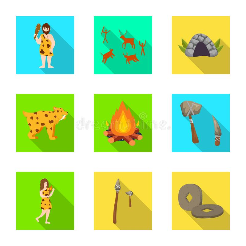 Wektorowy projekt ewolucja i neolityczny logo Set ewolucja i pradawny akcyjny symbol dla sieci ilustracji