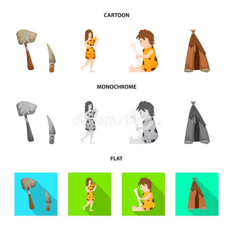Wektorowy projekt ewolucja i neolityczny symbol Kolekcja ewolucja i pradawna akcyjna wektorowa ilustracja ilustracji