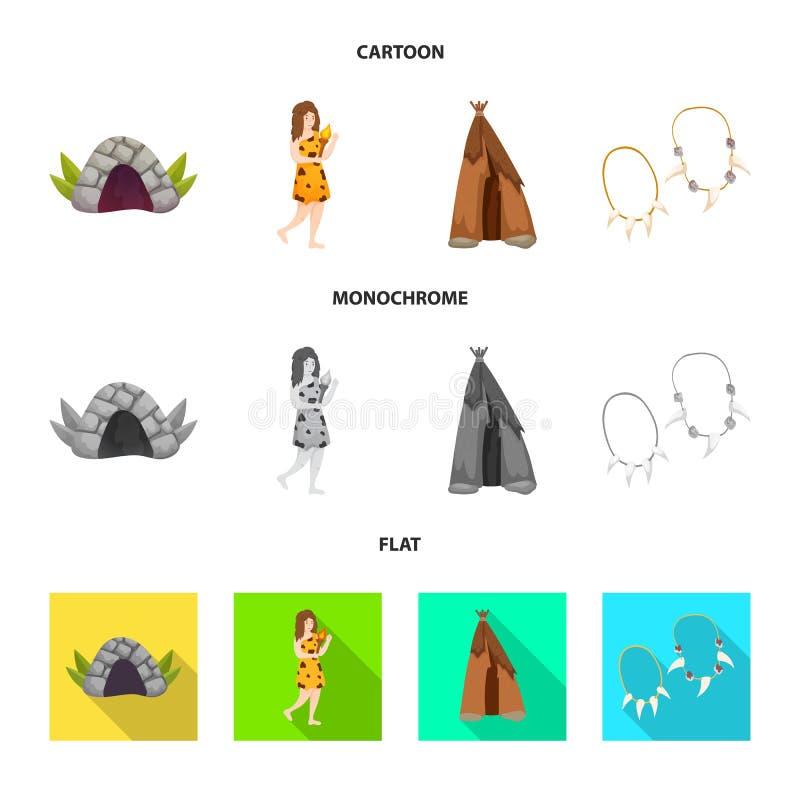 Wektorowy projekt ewolucja i neolityczny symbol Kolekcja ewolucja i pradawna wektorowa ikona dla zapasu ilustracji