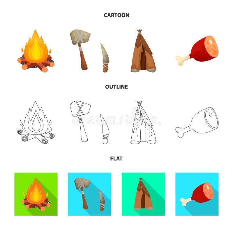 Wektorowy projekt ewolucja i neolityczny znak Kolekcja ewolucja i pradawna akcyjna wektorowa ilustracja ilustracji