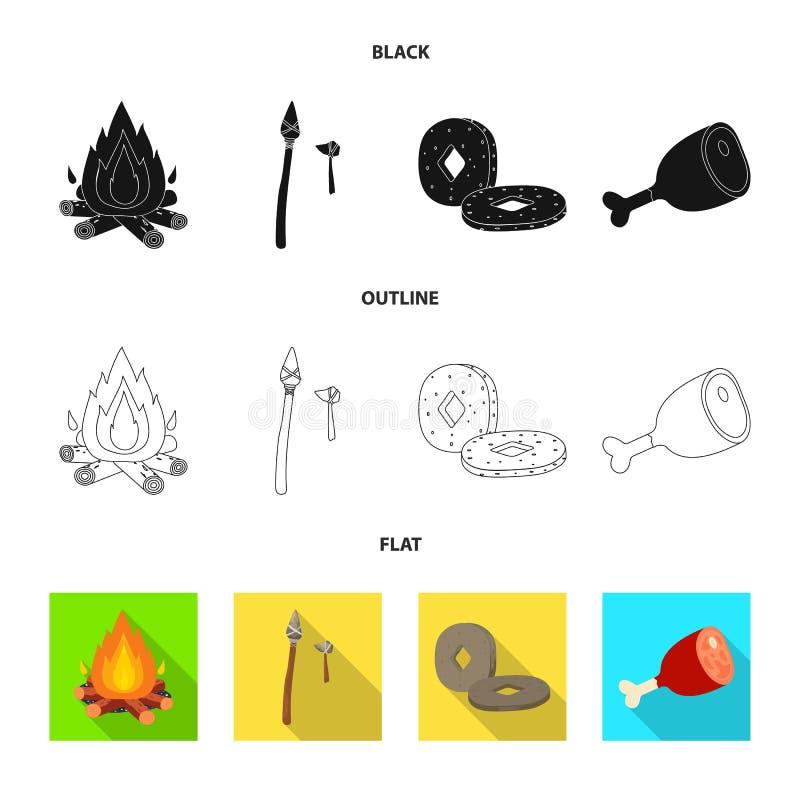 Wektorowy projekt ewolucja i neolityczny znak Kolekcja ewolucja i pradawna wektorowa ikona dla zapasu royalty ilustracja