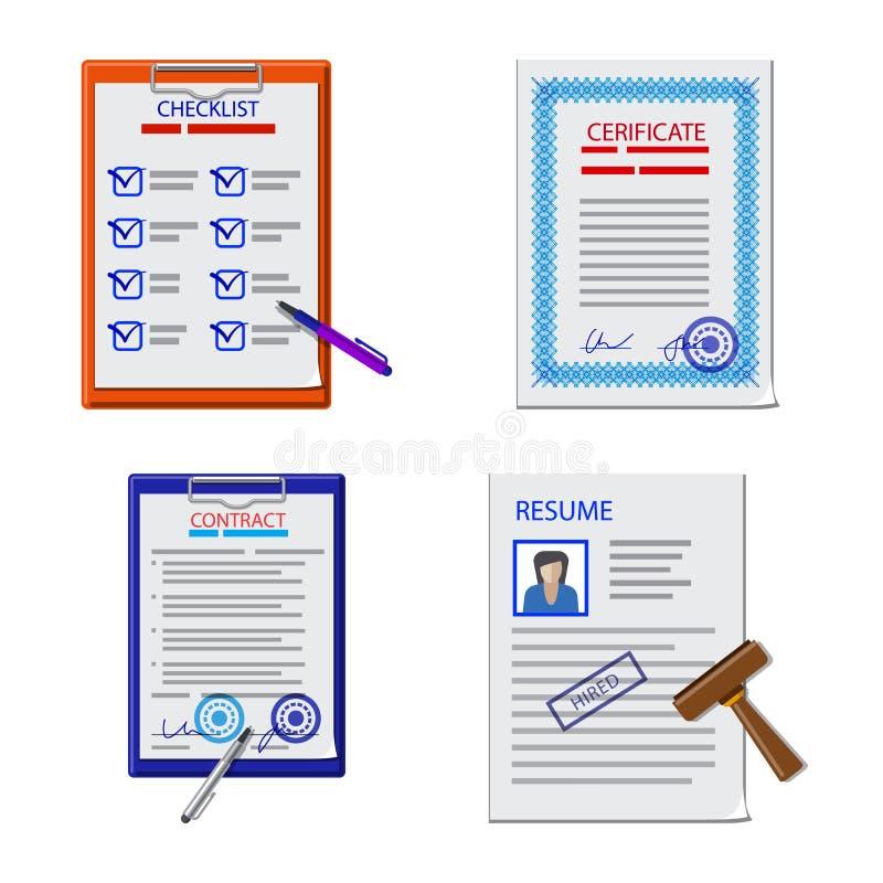 Wektorowy projekt formy i dokumentu logo Set formy i oceny wektorowa ikona dla zapasu royalty ilustracja