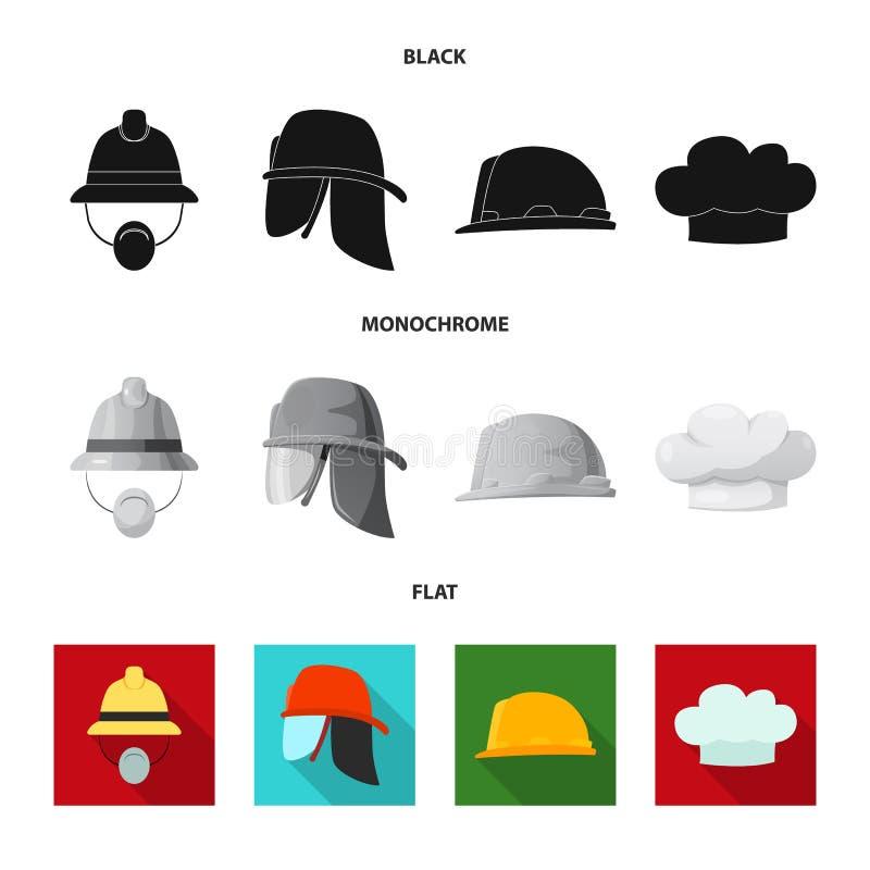 Wektorowy projekt headwear i nakrętki ikona Set headwear i akcesorium akcyjna wektorowa ilustracja ilustracji