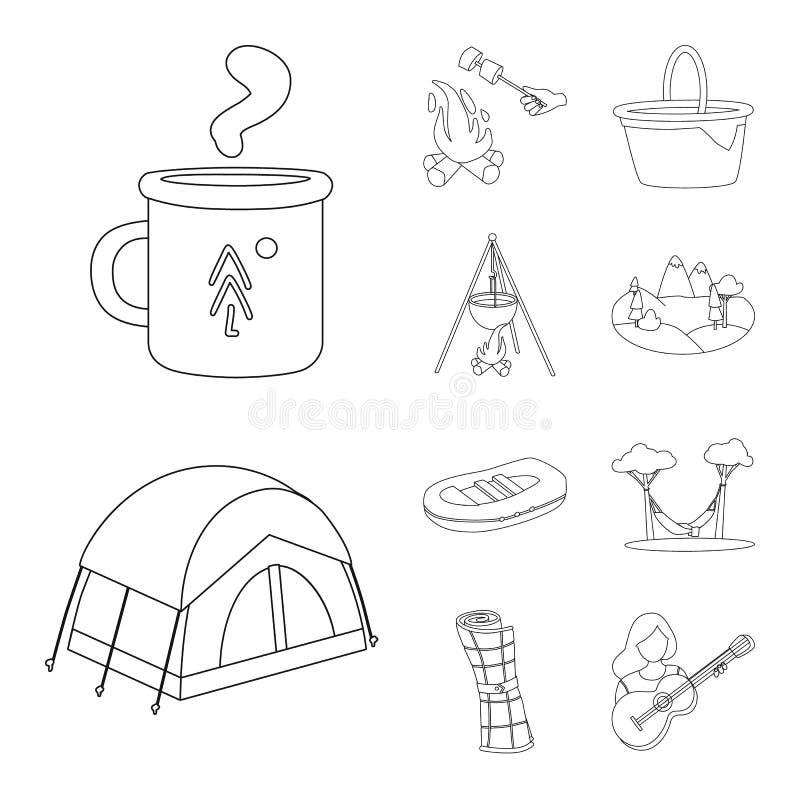 Wektorowy projekt hobby i podróży symbol Set hobby i turystyki akcyjna wektorowa ilustracja ilustracji