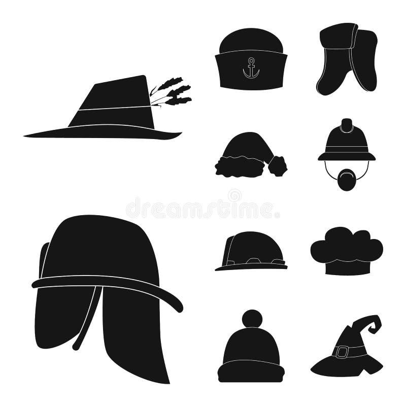 Wektorowy projekt kłobuku i nakrętki ikona Set kłobuku i akcesorium akcyjna wektorowa ilustracja royalty ilustracja