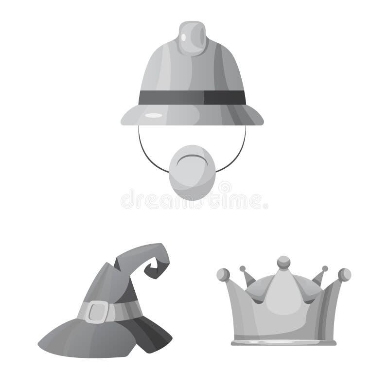 Wektorowy projekt kłobuku i nakrętki logo Kolekcja kłobuku i akcesorium akcyjna wektorowa ilustracja ilustracji