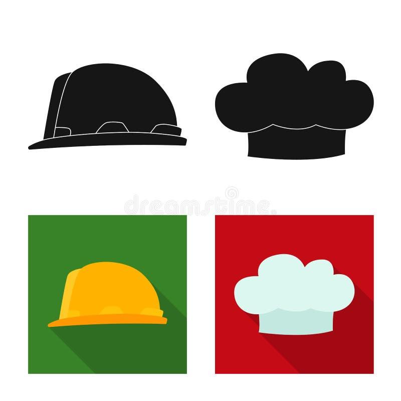 Wektorowy projekt kłobuku i nakrętki symbol Kolekcja kłobuku i akcesorium akcyjna wektorowa ilustracja royalty ilustracja