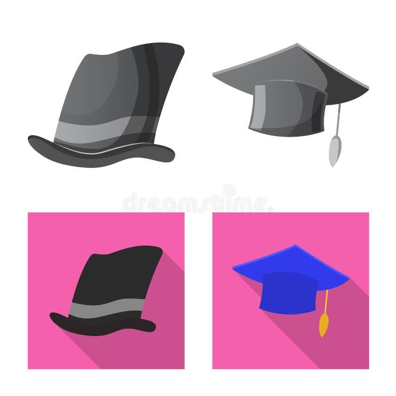 Wektorowy projekt kłobuku i nakrętki znak Set kłobuku i akcesorium akcyjna wektorowa ilustracja ilustracji