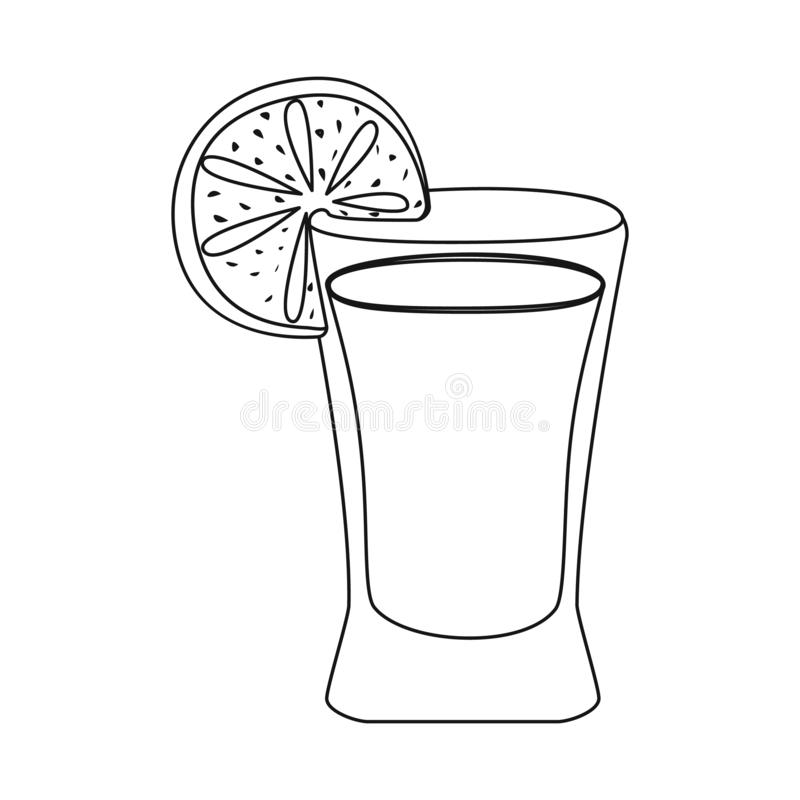 Wektorowy projekt koktajlu i szk?a symbol Kolekcja koktajlu i cytryny akcyjna wektorowa ilustracja royalty ilustracja