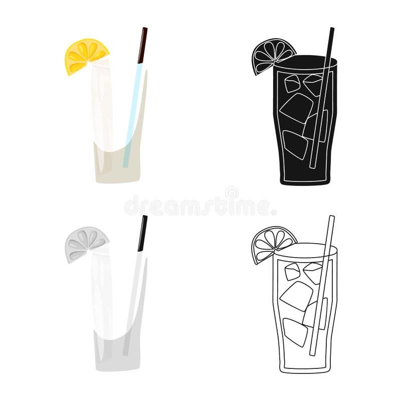 Wektorowy projekt koktajlu i szk?a znak Set koktajlu i kawa?ka wektorowa ikona dla zapasu ilustracji