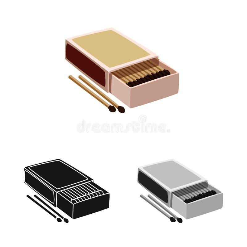 Wektorowy projekt matchbox i pudełka ikona Kolekcja matchbox i matchstick akcyjny symbol dla sieci ilustracji