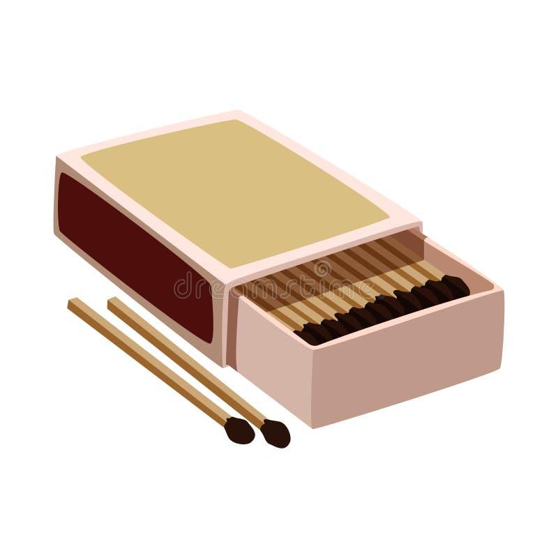 Wektorowy projekt matchbox i pudełka znak Set matchbox i matchstick akcyjna wektorowa ilustracja ilustracja wektor