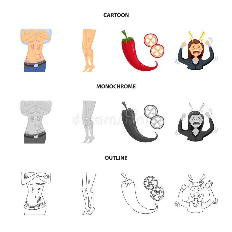 Wektorowy projekt medyczny i b?lowy symbol Set medyczna i choroba wektorowa ikona dla zapasu royalty ilustracja