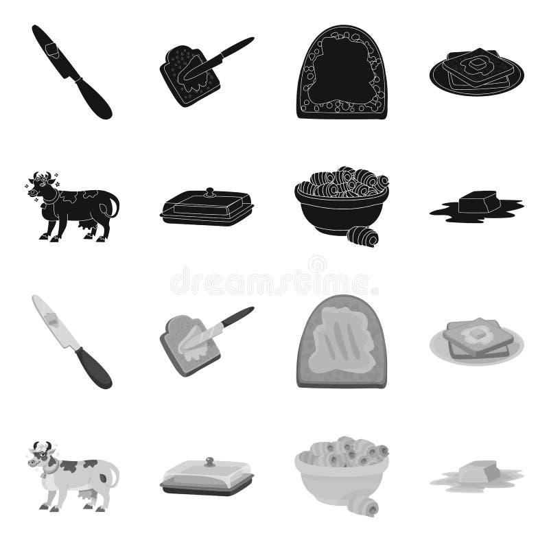 Wektorowy projekt ?mietankowa i produkt ikona Kolekcja ?mietankowy i rolny akcyjny symbol dla sieci ilustracji