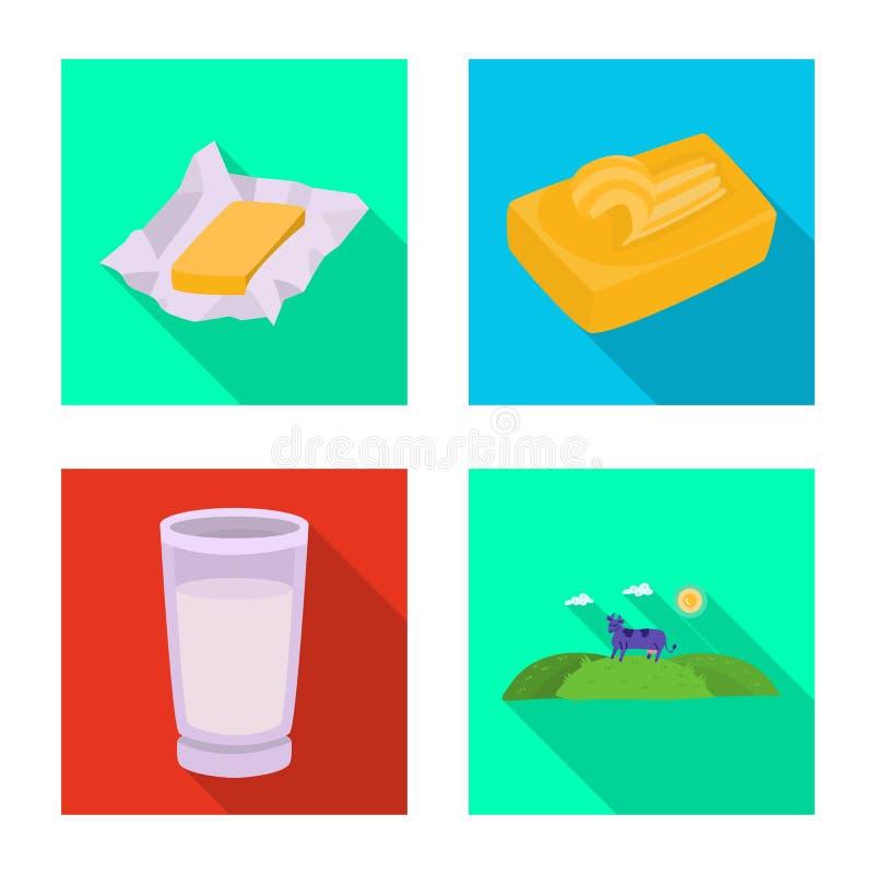 Wektorowy projekt ?mietankowy i produkt logo Set ?mietankowa i rolna wektorowa ikona dla zapasu ilustracja wektor