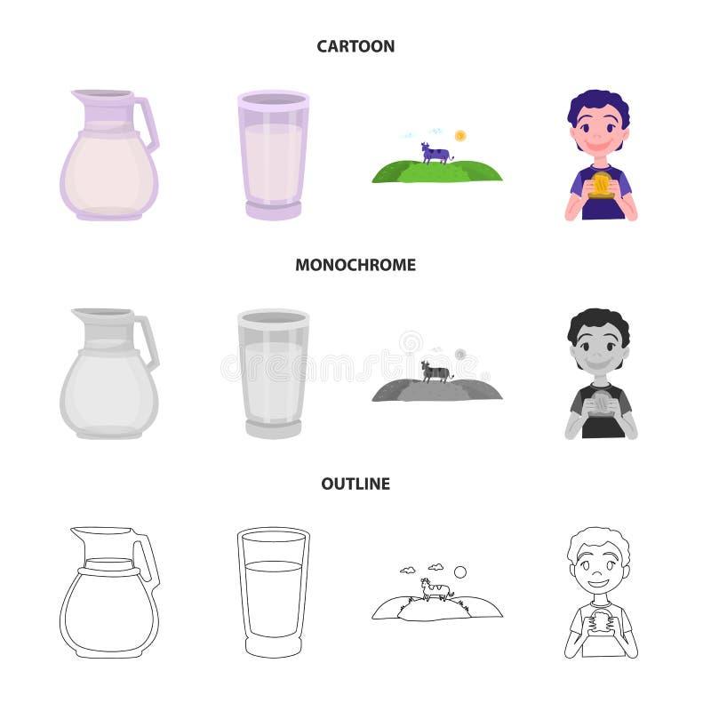 Wektorowy projekt ?mietankowy i produkt symbol Set ?mietankowy i rolny akcyjny symbol dla sieci royalty ilustracja