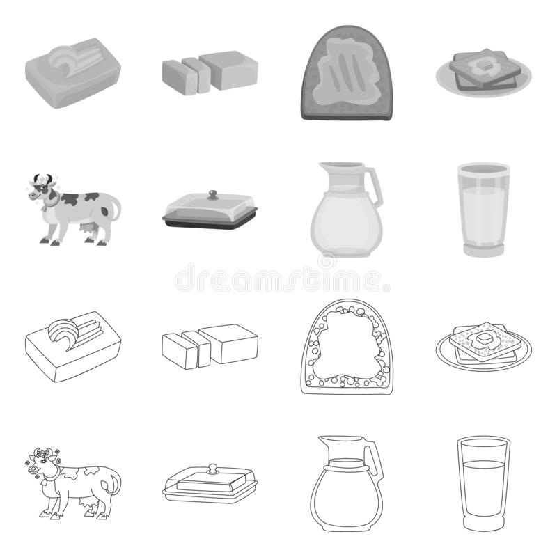 Wektorowy projekt ?mietankowy i produkt znak Set ?mietankowy i rolny akcyjny symbol dla sieci ilustracji