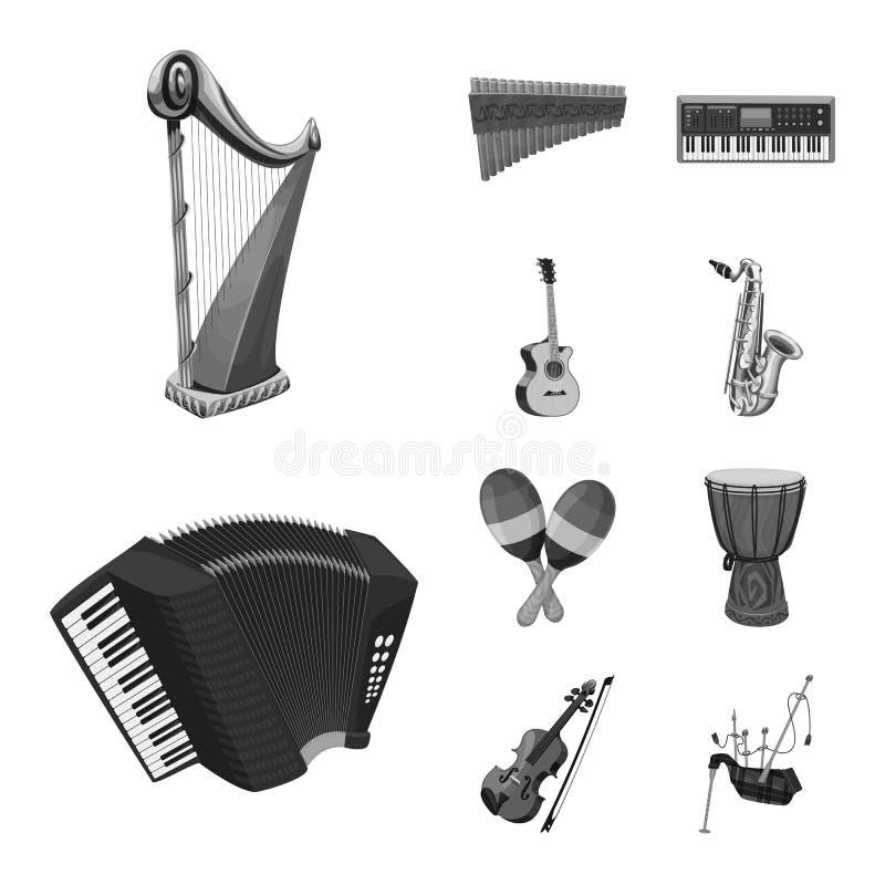 Wektorowy projekt muzyki i melodii ikona Set muzyka i narzędzie akcyjna wektorowa ilustracja ilustracji