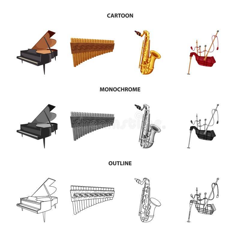 Wektorowy projekt muzyki i melodii ikona Set muzyka i narzędzie wektorowa ikona dla zapasu ilustracja wektor