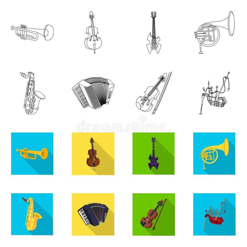 Wektorowy projekt muzyki i melodii ikona Set muzyka i narzędzie wektorowa ikona dla zapasu ilustracji