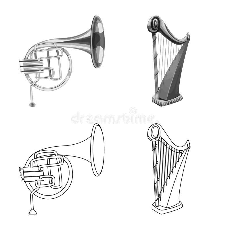 Wektorowy projekt muzyki i melodii logo Kolekcja muzyka i narzędzie wektorowa ikona dla zapasu ilustracji