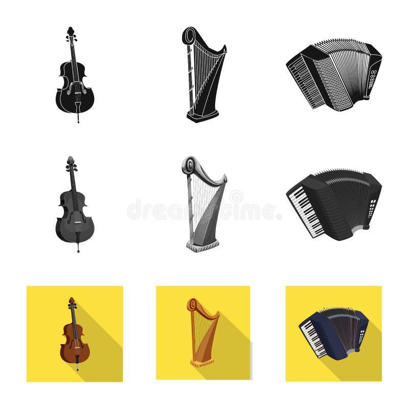 Wektorowy projekt muzyki i melodii znak Kolekcja muzyka i narzędziowy akcyjny symbol dla sieci ilustracja wektor