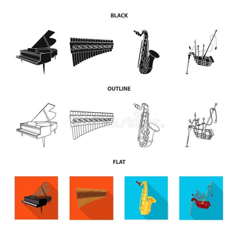 Wektorowy projekt muzyki i melodii znak Set muzyka i narzędzie wektorowa ikona dla zapasu ilustracja wektor