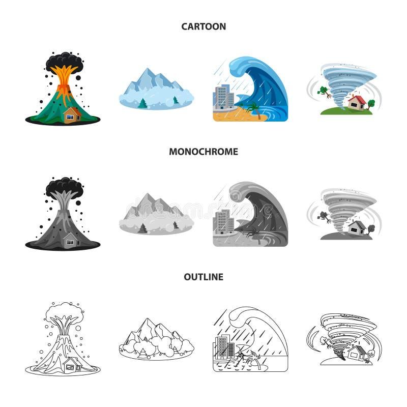 Wektorowy projekt naturalna i katastrofa ikona Set naturalna i ryzyko wektorowa ikona dla zapasu royalty ilustracja