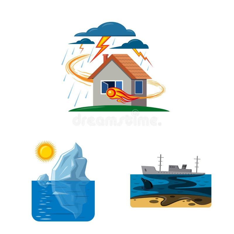 Wektorowy projekt naturalny i katastrofa logo Kolekcja naturalna i ryzyko wektorowa ikona dla zapasu royalty ilustracja