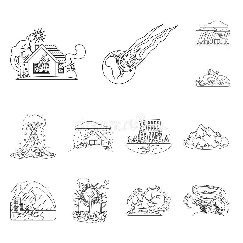 Wektorowy projekt naturalny i katastrofa symbol Kolekcja naturalna i ryzyko akcyjna wektorowa ilustracja ilustracji