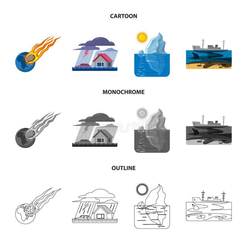 Wektorowy projekt naturalny i katastrofa symbol Kolekcja naturalna i ryzyko wektorowa ikona dla zapasu royalty ilustracja