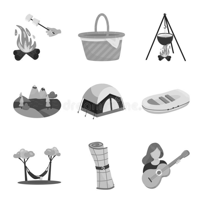 Wektorowy projekt odtwarzania i turystyki symbol Set odtwarzanie i przyrody akcyjna wektorowa ilustracja ilustracja wektor