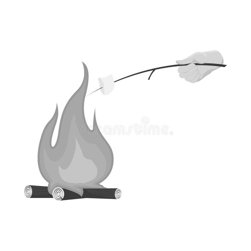 Wektorowy projekt ogniska i marshmallow znak Set ogniska i ogniska akcyjna wektorowa ilustracja royalty ilustracja