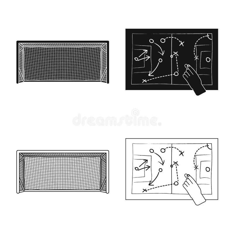 Wektorowy projekt piłka nożna i przekładni ikona Set piłki nożnej i turnieju wektorowa ikona dla zapasu royalty ilustracja