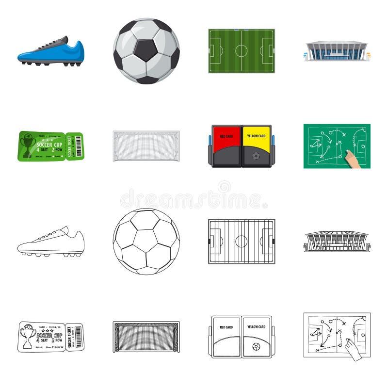 Wektorowy projekt piłka nożna i przekładnia symbol Kolekcja piłki nożnej i turnieju akcyjna wektorowa ilustracja ilustracji