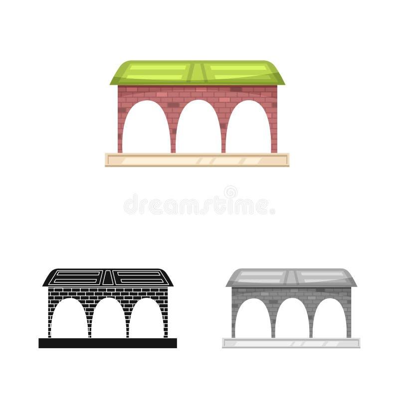 Wektorowy projekt pociągu i staci znak Set pociągu i bileta akcyjna wektorowa ilustracja ilustracja wektor